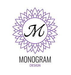 Round purple emblem with letter m on white vector