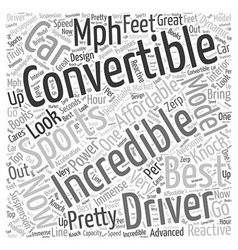 SC convertible sports cars Word Cloud Concept vector