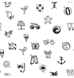 seamless pattern summer icons in a cartoon style vector image