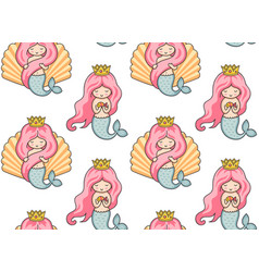 Seamless pattern with mermaids vector