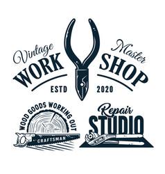 Set carpentry logos for wood carving workshop vector