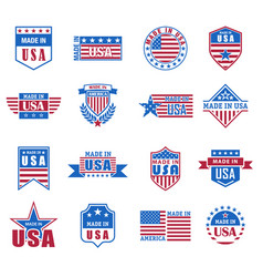 set made in usa icon with flag and stars vector image