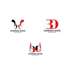 set of bd logo letter design template element vector image