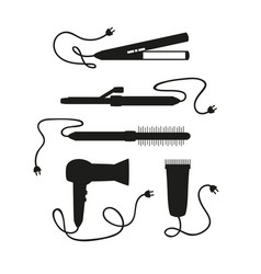 Set of hair dryers on a white background vector