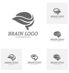 set of nature brain logo template brain mind with vector image