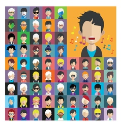set people icons in flat style with faces 13 a vector image
