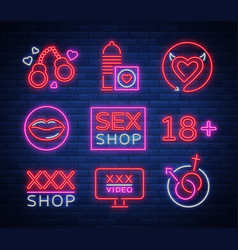 sex shop set of logos signs symbols in neon vector image