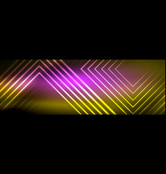 Shiny neon glowing techno lines hi-tech vector