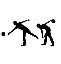 silhouettes of people bowling vector image
