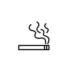 simple cigarette line icon in flat style black vector image