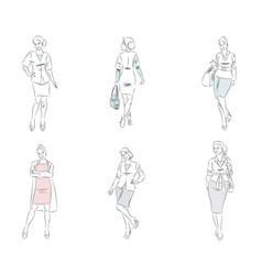 Six fashionable businesswoman vector