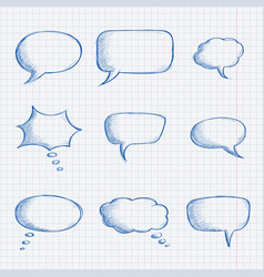 speech bubbles chat symbols on lined paper hand vector image