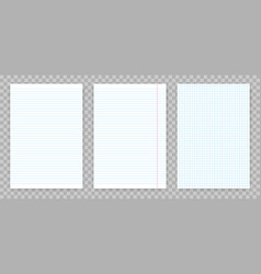 Squared and lined paper sheets notebook or vector