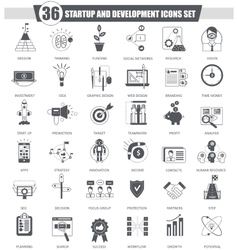 Startup and development black icon set vector