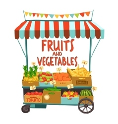 Street cart with fruits vector