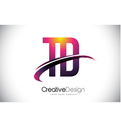 Td t d purple letter logo with swoosh design vector