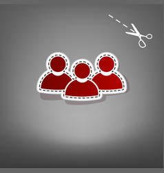 Team work sign red icon with for applique vector