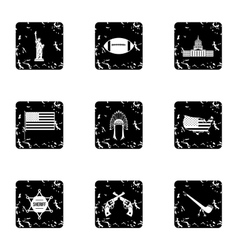 Tourism in USA icons set grunge style vector image