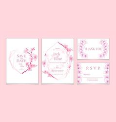 vintage sakura wedding invitation cards set white vector image