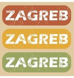 Vintage Zagreb stamp set vector