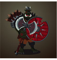 Warrior goblin big green angry orc with weapons vector