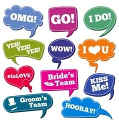 Weddings phrases in speech bubbles photo vector