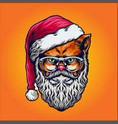 wild cat merry christmas with glasses vector image