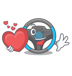 With heart steering wheel in a mascot box vector