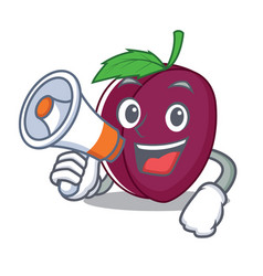 With megaphone plum character cartoon style vector