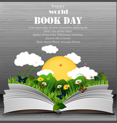 world book day with open book and green grass vector image