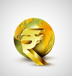 World economic concept with gold world and Rupee vector