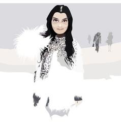 Beautiful woman in white fur coat in winter vector image