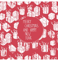 christmas card with box vector image vector image