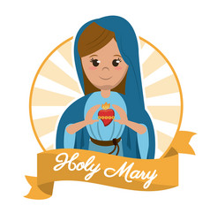 holy mary sacred heart religion statue image vector image vector image