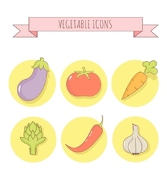Set of six vegetable icons Linear style vector image