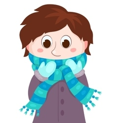 The boy in winter clothes vector image vector image