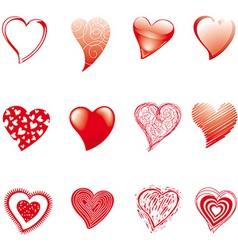 twelve hearts vector image