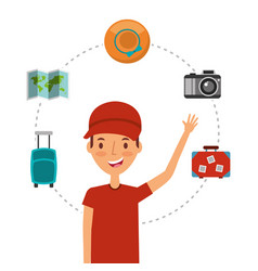 young man tourist traveler with map hat camera vector image