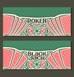 Banners for black jack and poker vector