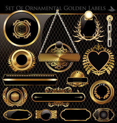 Black and Gold framed labels vector image vector image