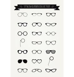 Hipster Retro Vintage Glasses Icon Set vector image vector image