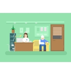 Reception of doctor in clinic vector image