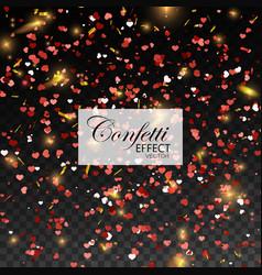 red glittering heart confetti vector image
