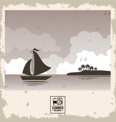 sepia color poster seaside with yacht and summer vector image vector image