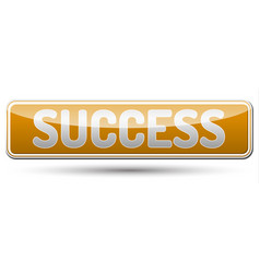 success - glossy banner with shadow vector image