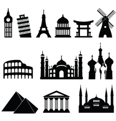 Around the world icons vector image