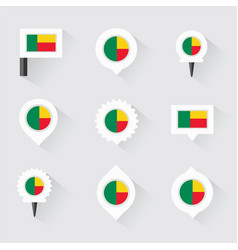 benin flag and pins for infographic and map design vector image vector image