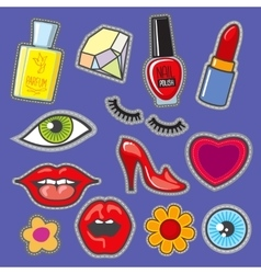 Embroidery fabric vinyl collection sweet patches vector image vector image