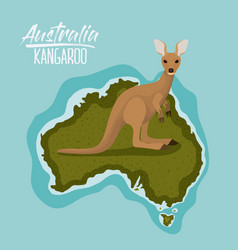 poster kangaroo in australia map in green vector image