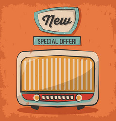 Vintage technology radio music special offer retro vector